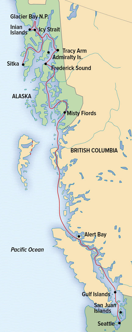 Treasures of the Inside Passage Itinerary Map